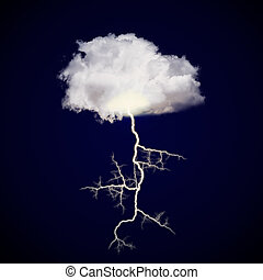 Cloud with lightning strike on a dark gradient background