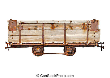 Vintage wooden car for narrow-gauge railway - Vintage wooden...