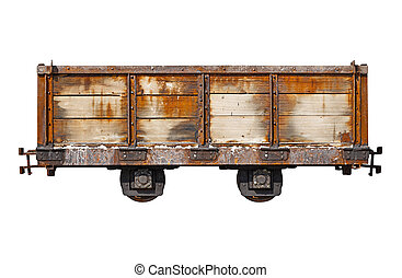 Vintage rusty car for the narrow-gauge railway isolated on...