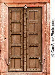 Old wooden door - part of Indian architecture - Old wooden...