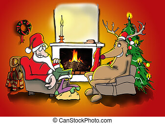 Santa and reindeer by the fire - Santa and his friend the...