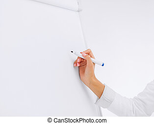 businesswoman working with flip board in office - business,...