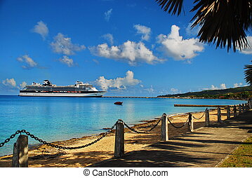 Cruise Ship St. Croix, USVI - Cruise ship arrives in the...