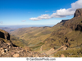 Sani pass to Lesotho - Valley and winding road over...