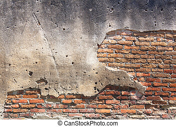 Old red brick wall. - Decayed, cracked concrete vintage...