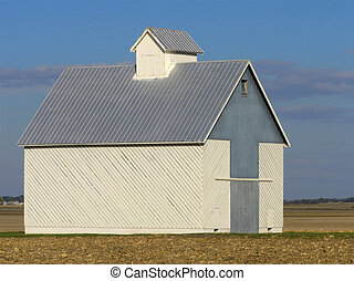 Midwestern Shed - Lone shed among the stubble of a...