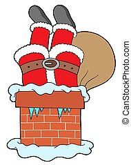 Santa Clauses legs with chimney - isolated illustration.