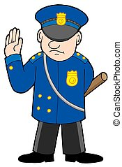 Policeman on white background - isolated illustration.