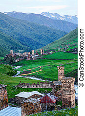 View of Georgian villages in the mountains. - View of...