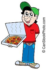 Pizza delivery boy - isolated illustration.