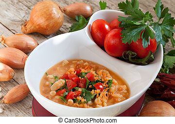 Mashed Beans  - Bowl with mashed Cannellini beans soup.