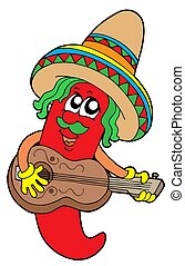 Mexican chilli guitar player - isolated illustration.
