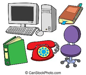 Office collection on white backgound - isolated illustration...