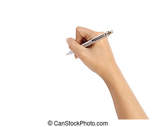 hand with pen writing on white background (with clipping...