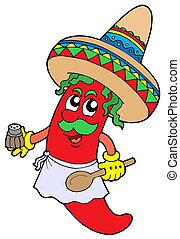 Mexican chilli chef - isolated illustration