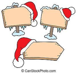 Christmas wooden signs with caps - isolated illustration.