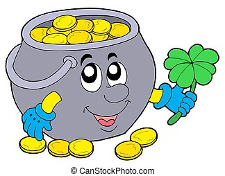 Lucky pot of money - isolated illustration.