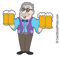 Innkeeper with beers - isolated illustration.