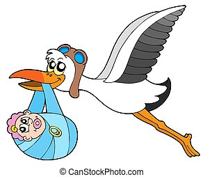 Flying stork delivering baby - vecotr illustration.