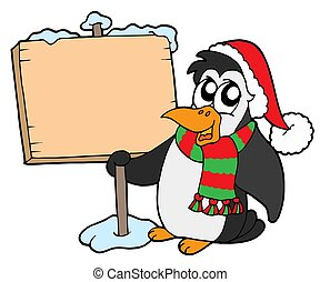 Christmas penguin with sign - isolated illustration