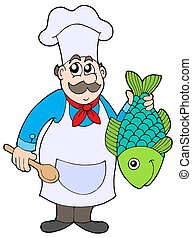 Chef holding fish - isolated illustration.