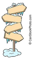 Frozen wood sign - isolated illustration.