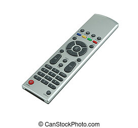 TV remote control on white background with clipping path