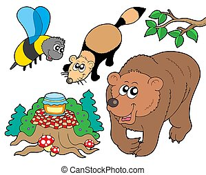 Forest animals collection 2 - isolated illustration.