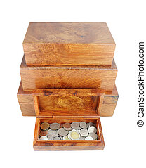 opened wooden moneybox with coins