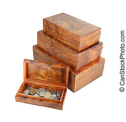 opened wooden moneybox with coins on white