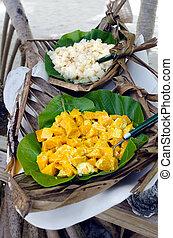 Tropical food served outdoor in Aitutaki Lagoon Cook Islands...