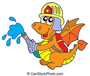 Fireman dragon on white background - isolated illustration.