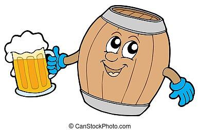 Cute wooden keg holding beer - isolated illustration