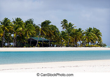 One Foot Island post office in Aitutaki Lagoon Cook Islands...