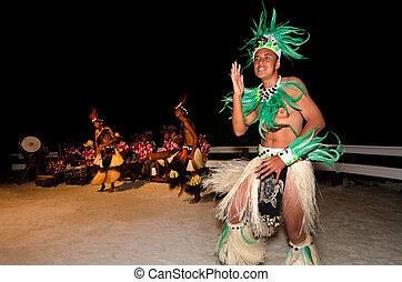 Young Polynesian Pacific Island Tahitian Men Dancers -...