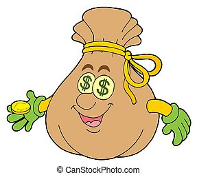 Cute money sack - isolated illustration.