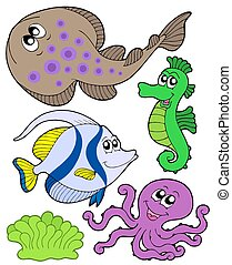 Cute marine animals collection 3 - isolated illustration.