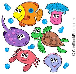 Cute marine animals collection - isolated illustration