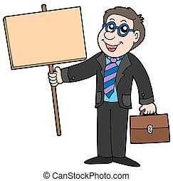 Businessman with wooden table