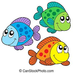 Cute color fishes - isolated illustration