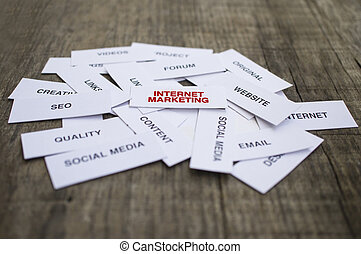 Internet Marketing Concept - Paper strips with Internet...
