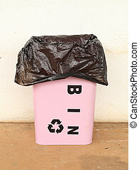trash can with a plastic bag - pink trash can with a plastic...