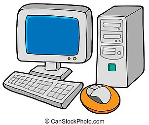 Computer 2 on white background - isolated illustration