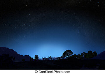Night sky with gradient background with room for text or...