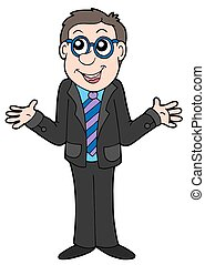 Businessman in black suit - isolated illustration.