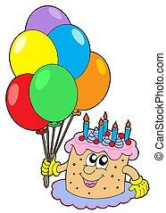 aniversário, bolo, balões