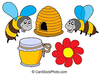 Bee and honey collection - isolated illustration.