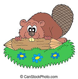 Beaver with log - isolated illustration