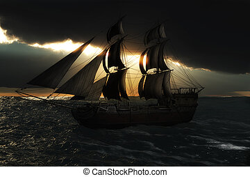 Sailing ship with a God ray evening