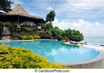 Beach bungalow in tropical pacific ocean Island - AITUTAKI -...